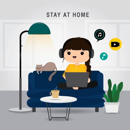 Quarantine, stay at home concept. Working from home, Woman using laptop for watching movie online and relaxing on sofa. Character Cartoon Vector illustration