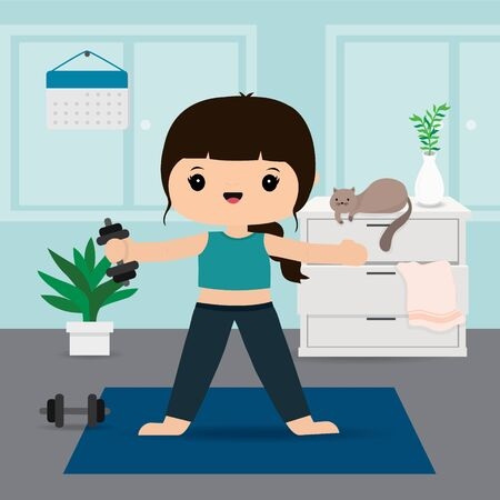 Quarantine, stay at home concept. Working from home, Woman doing exercise and yoga training at home gym. Character Cartoon Vector illustration Ilustracja