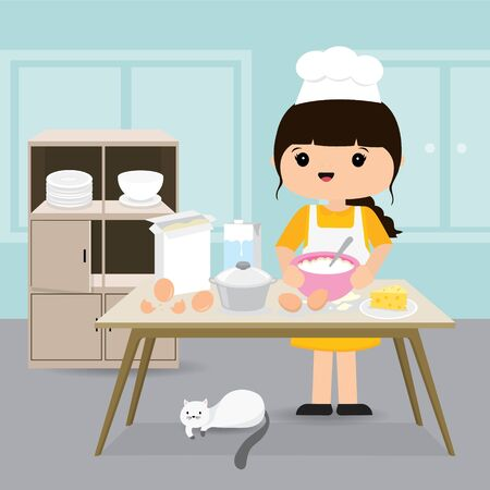 Quarantine, stay at home concept. Working from home, Woman cooking Bakery in kitchen room. Character Cartoon Vector illustration Ilustracja