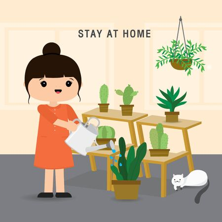 Quarantine, stay at home concept. Working from home, Woman growing tree and water the plant. Character Cartoon Vector illustration