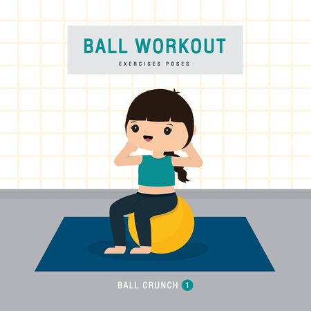 Ball Workout. Woman doing Stability ball exercise and yoga training at gym home, stay at home concept. Character Cartoon Vector illustration Ilustracja