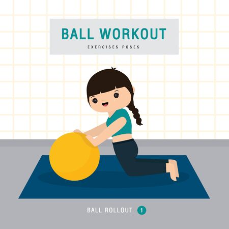 Ball Workout. Woman doing Stability ball exercise and yoga training at gym home, stay at home concept. Character Cartoon Vector illustration Illusztráció