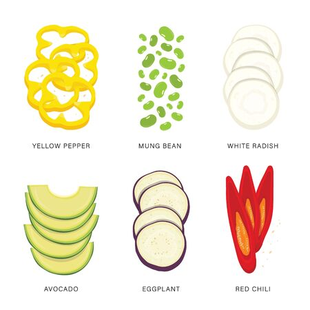 Set of Vegetable Slices. Organic and healthy food isolated element illustration. Ilustracja
