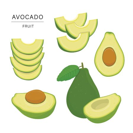 Set of Avocado Fruit Slices. Organic and healthy food isolated element Vector illustration.