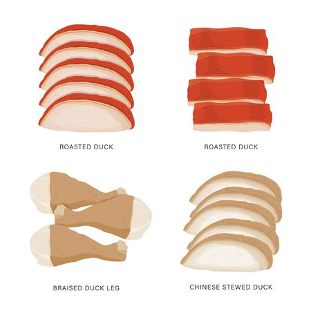 Set of Duck slice food isolated on white background. Cartoon Vector illustration
