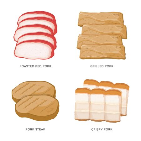 Set of Pork slice food isolated on white background. Cartoon Vector illustration