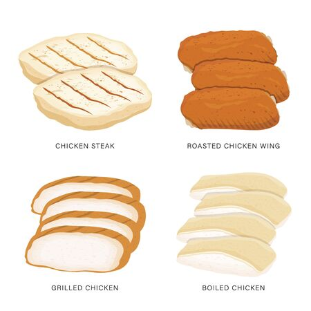 Set of food Chicken sliced isolated on a white background. Cartoon Vector illustration