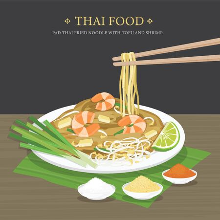 Set of Traditional Thai food, Pad Thai fried noodle with tofu and shrimp. Cartoon Vector illustration