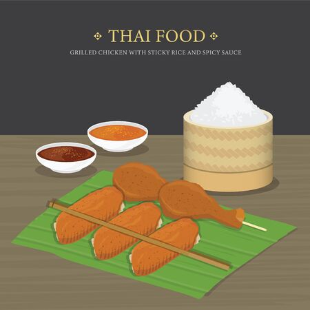 Set of Traditional Thai food, Grilled chicken with sticky rice and spicy sauce over banana leaf. Cartoon Vector illustration