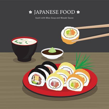 Set of Traditional Japanese food, Sushi Roll with Miso Soup and Wasabi Sauce. Cartoon Vector illustration