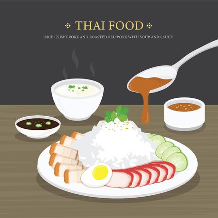Set of Traditional Thai food, Rice crispy pork and roasted red pork with soup and sauce. Cartoon Vector illustration Ilustracja