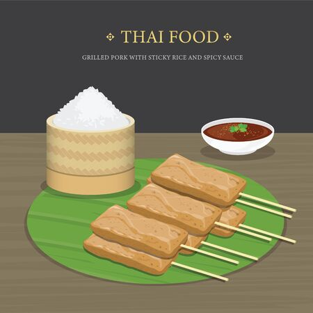 Set of Traditional Thai food, Grilled Pork with sticky rice and spicy sauce over banana leaf. Cartoon Vector illustration.