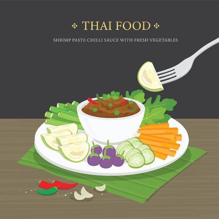 Set of Traditional Thai food, Shrimp Paste Chili Sauce (Nam Prik Ka Pi) with fresh vegetables. Cartoon Vector illustration. Ilustración de vector