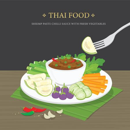 Set of Traditional Thai food, Shrimp Paste Chili Sauce (Nam Prik Ka Pi) with fresh vegetables. Cartoon Vector illustration.