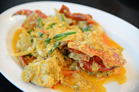 Fried crab with curry powder photo