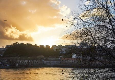 Orange sky from Porto in autum Stock Photo