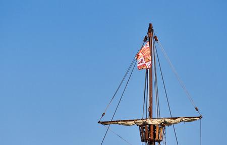 Mast detail of the spanish replica of the santa cruz Stock Photo