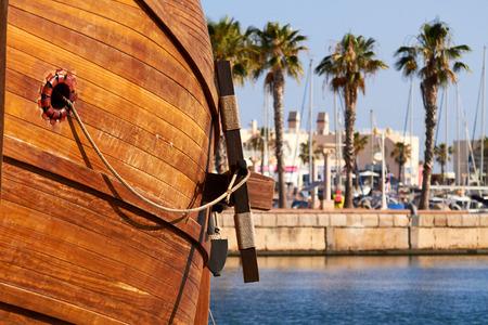 Anchor of a replica of the Nao de Santa Maria vessel docked
