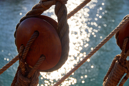 Marine background, sailing boat pulley Stok Fotoğraf