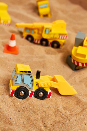little wood toy excavator Reklamní fotografie