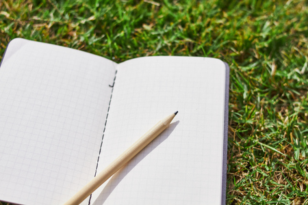 notebook and pencil on the grass
