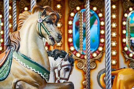 carousel details in amusement park