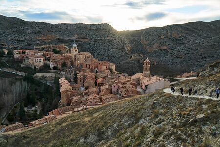 view of albarracin town in teruel in the afternoon