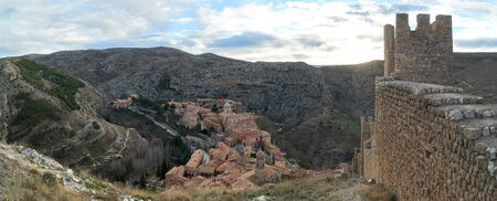 wall of albarracin town in teruel in the afternoon