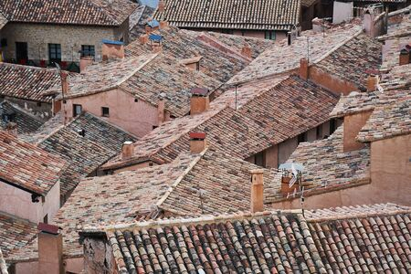 roofs from albarracin in teruel in the afternoon