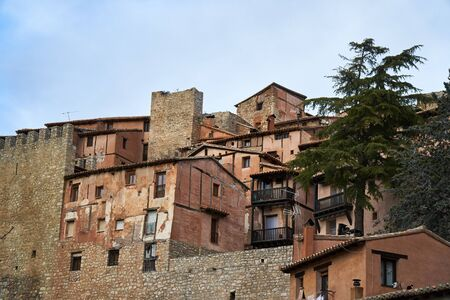 Houses from albarracin in teruel in the afternoon