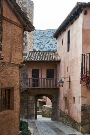 streets of town of albarracin teruel in the afternoon Imagens