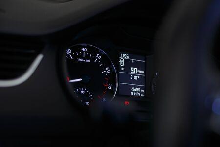 Dashboard car. Car dashboard with white backlight.