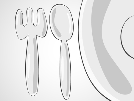 Plate, spoon and fork Vector