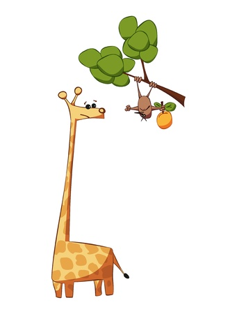 two animals: One apple, two animals Illustration