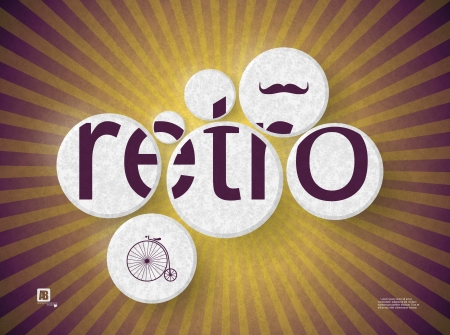 word  retro  in circles Vector
