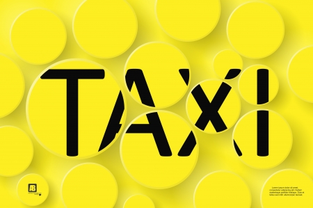 Taxi Word on Yellow Background - Black Taxi symbol on bright yellow and orange background Vector