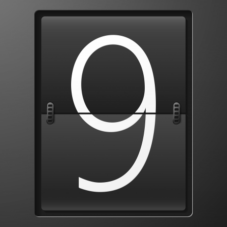 Number from mechanical scoreboard alphabet Vector