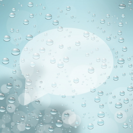 comin: Speech bubble on glass with water drops