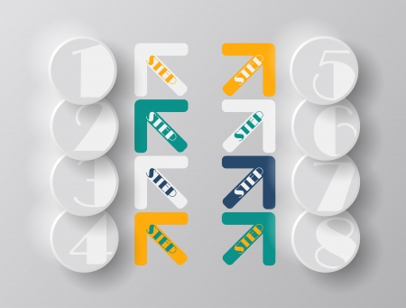 Arrows steps design from one till eight