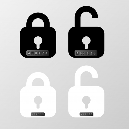 secret number: Closed and open lockers with digit and letters code