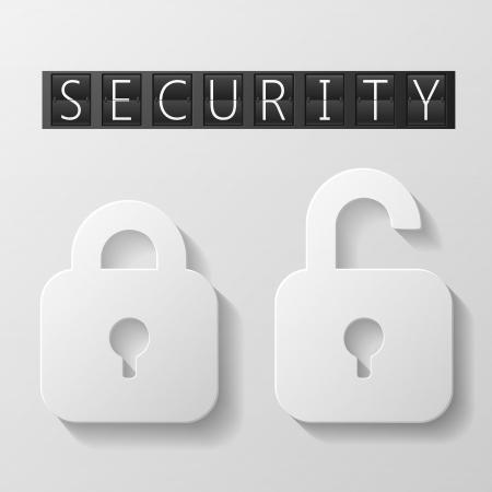 protected database: Taquillas cerradas y abiertas con c�digo de cuatro d�gitos y las letras Vectores