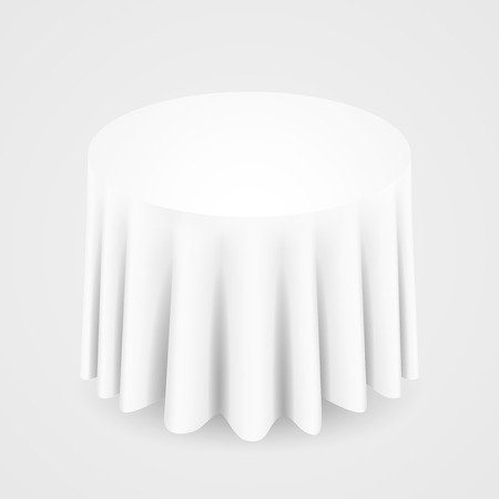 White Round Tablecloth Table On A White Background Royalty Free