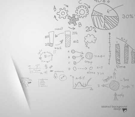 Wave of formulas departing from the slot on a gray background Illustration