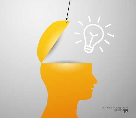 lamp in sIlhouette of a head Vector