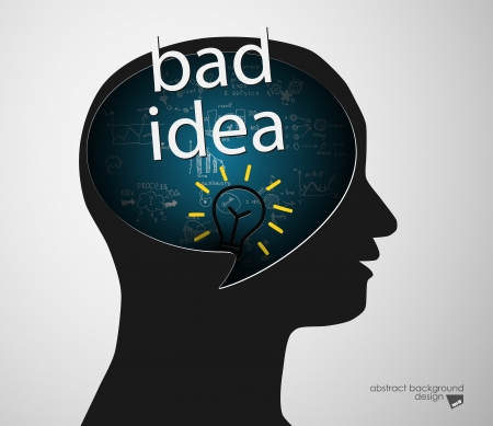 bad idea: Black man head silhouette and lettering of bad idea