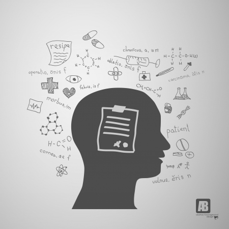 human head silhouette with medicine formulas Stock Vector - 23754502