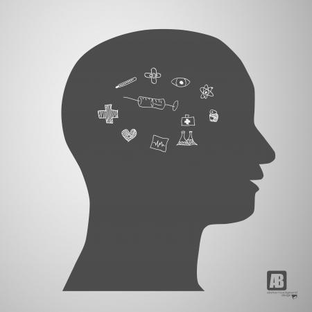human head silhouette with medicine formulas Stock Vector - 23815242
