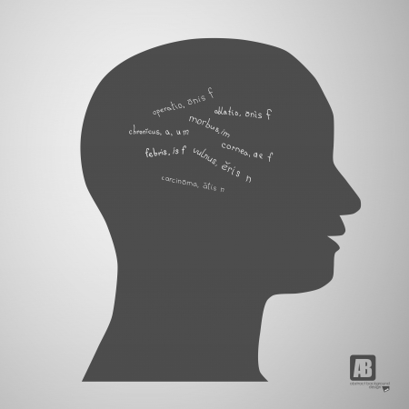 human head silhouette with medicine formulas Vector