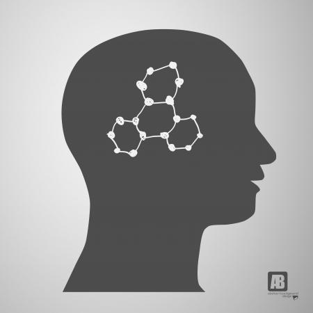 human head silhouette with medicine formulas Stock Vector - 23815248