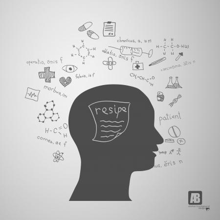 human head silhouette with medicine formulas Stock Vector - 23754509